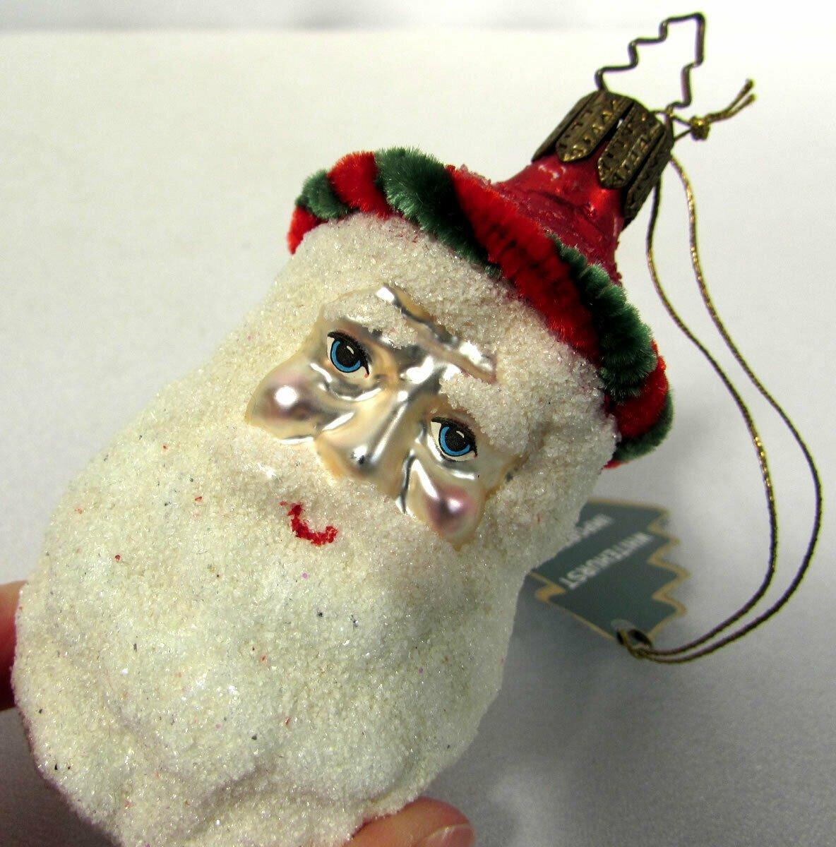 Glass Christmas Ornament Father Christmas Santa Head Whitehurst