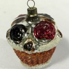 Vintage Glass Christmas Ornament Rose Basket Gold Orange 2 1/4 Inches