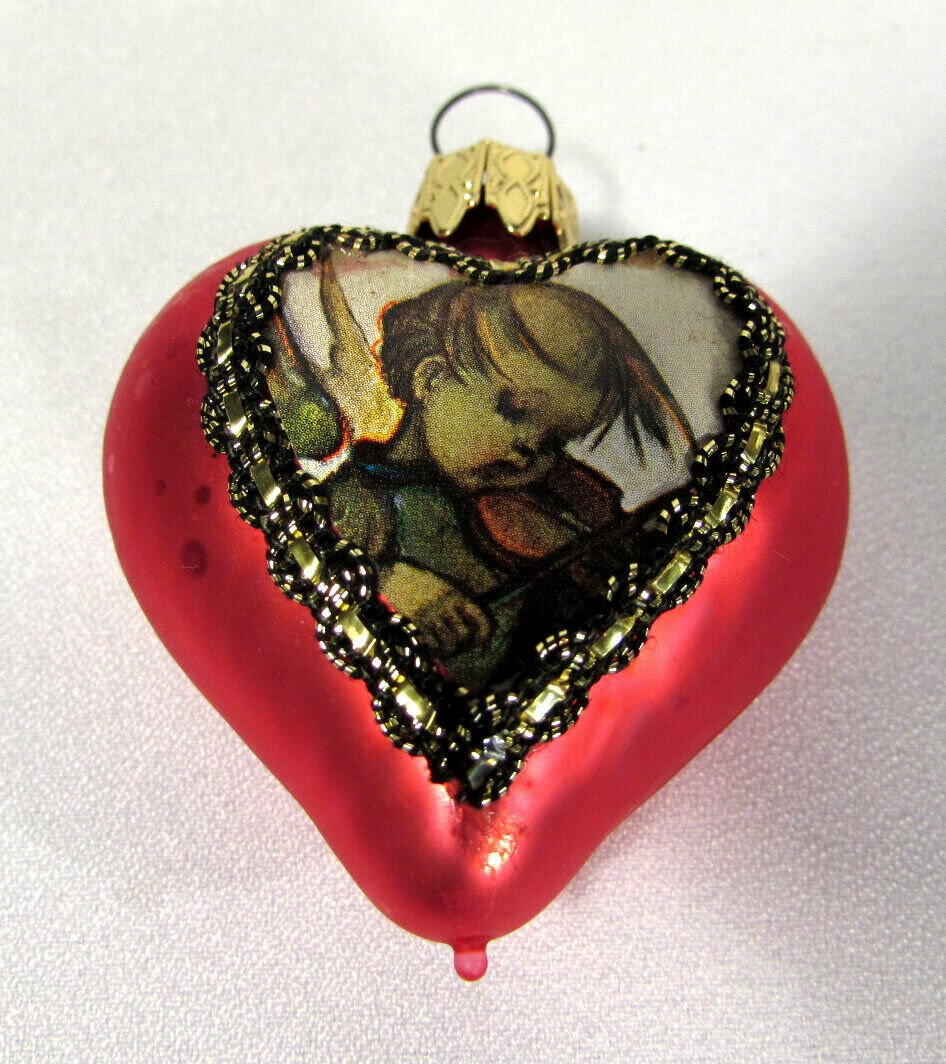 Glass Christmas Ornament Heart West Germany