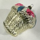 Vintage Glass Christmas Ornament Rose Basket Silver Pink 2 3/4 Inches