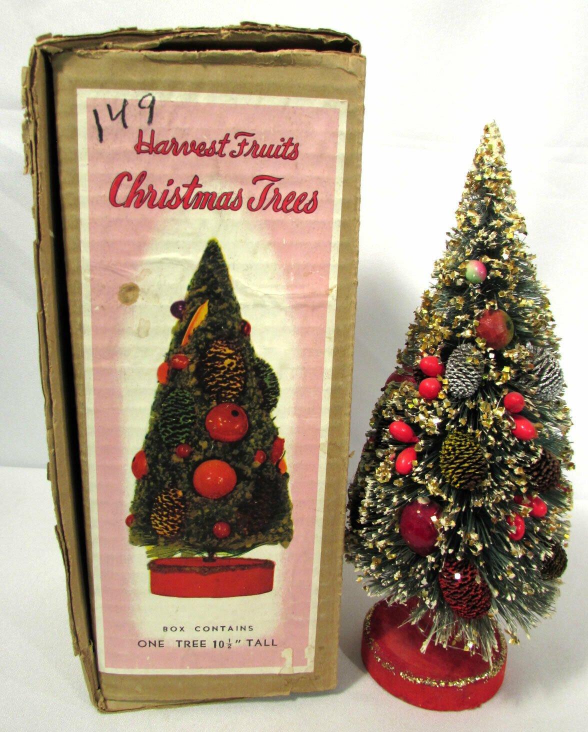 """Vtg Christmas Bottle Brush Tree Harvest Fruits Red Felt Base 10 1/2"""" Orig Box"""