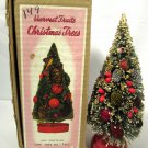 "Vtg Christmas Bottle Brush Tree Harvest Fruits Red Felt Base 10 1/2"" Orig Box"