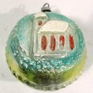 Vintage Glass Christmas Ornament Church on a Disk Embossed 2 1/4 Inches