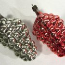 Vintage Glass Christmas Ornaments Grape Clusters (2) Red & Green 4 1/2 Inches