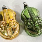 Vintage Glass Christmas Ornaments Molded Cello (2) Gold & Green 2 1/2 Inches