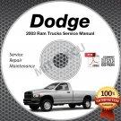 2003 Dodge Ram Trucks 1500 2500 3500 Gas + Diesel Service Manual CD shop repair