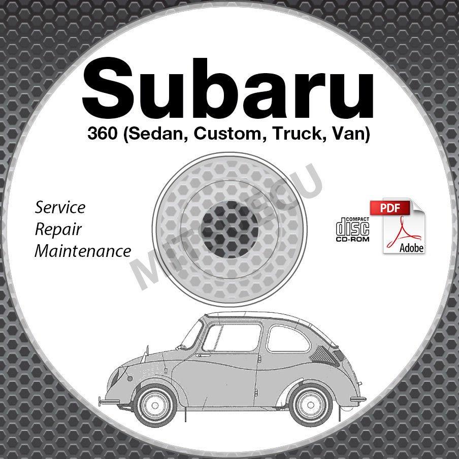 1958-1971 Subaru 360 Service Manual CD ROM Sedan, Custom, Truck, Van Repair