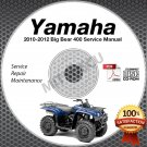 2007-2012 Yamaha BIG BEAR 250 & 400 ATV Service Manual CD repair shop 2008 2009