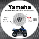 1992-2004 Yamaha WARRIOR YFM350X ATV Service Manual CD repair shop 03 02 01 00
