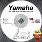 1987-1991 Yamaha RIVA 200 Scooter Service Manual CD ROM repair shop 88 89 90 91