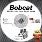 Bobcat S220 Skid Steer Loader Service Manual CD repair [SN A5GK/L 11001-19999]