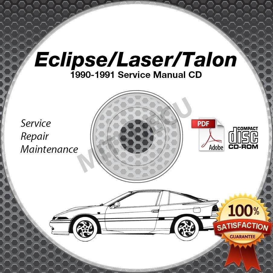 1990 1991 Mitsubishi Eclipse Talon Laser Service Manual Cd border=