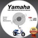 1989-1990 Yamaha ZUMA 50 Scooter Service Manual CD ROM repair shop CW50