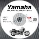 1998-2011 Yamaha V Star 650 Classic Custom Silver Service Manual CD repair shop
