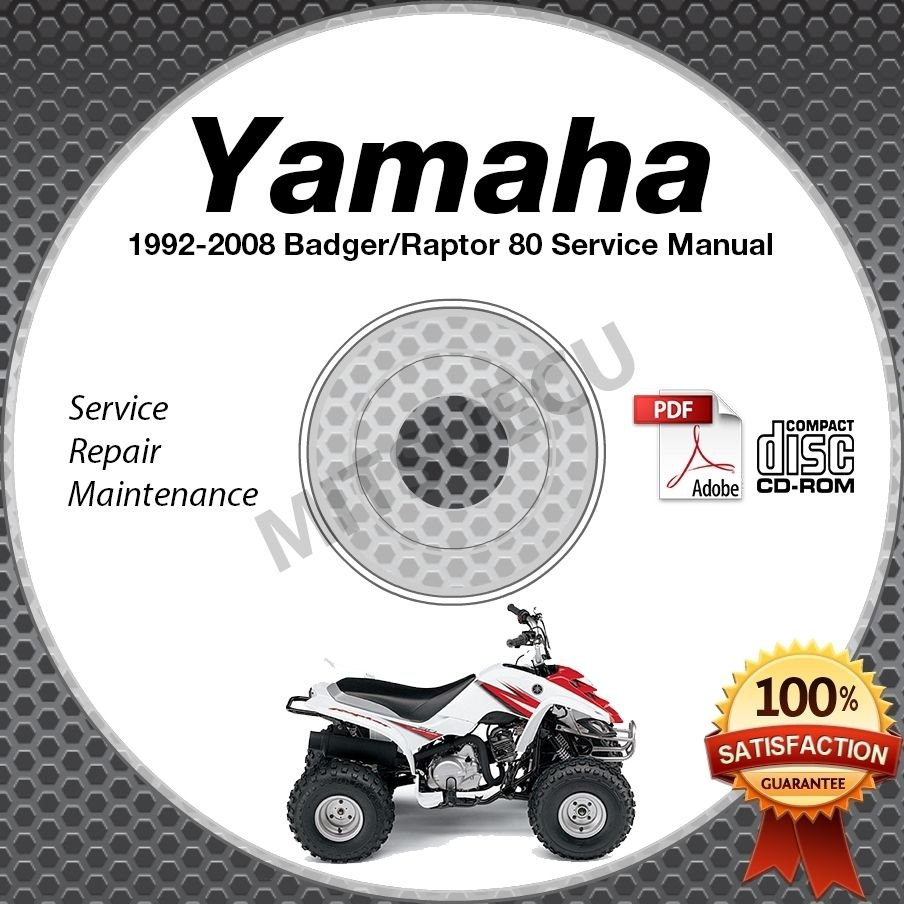 1992-2008 Yamaha BADGER / RAPTOR 80 YFM80 Service Manual CD ROM repair shop