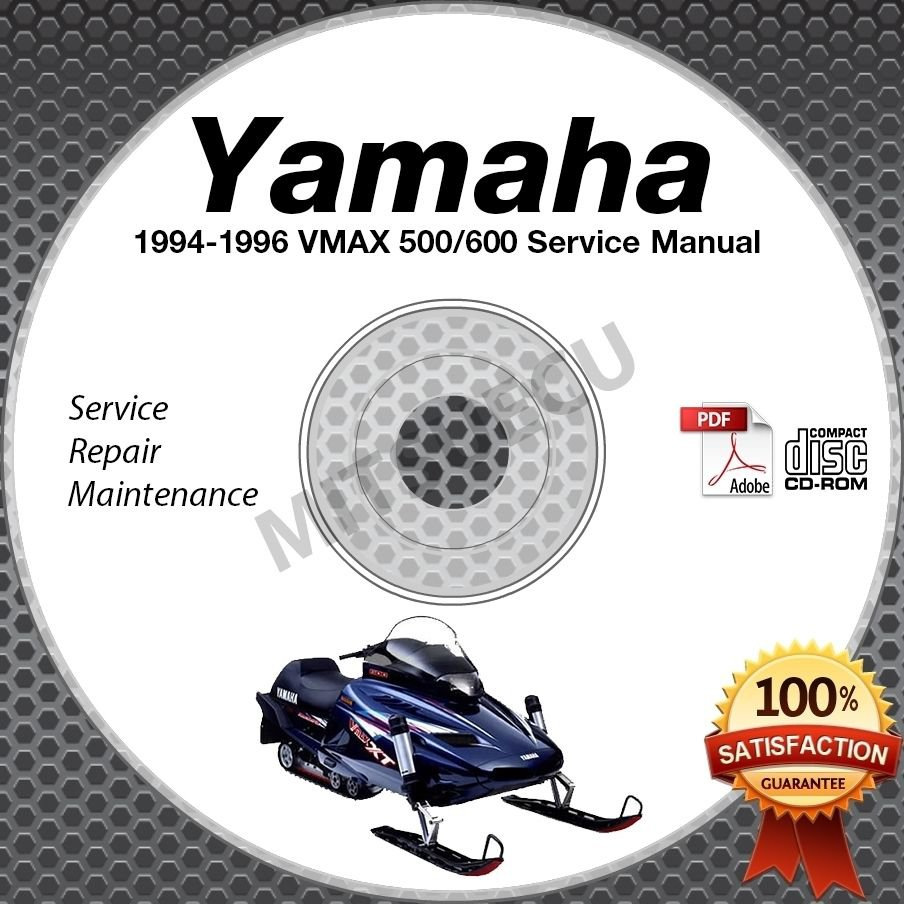 1994 1995 1996 Yamaha VMAX 500/600 Snowmobile Service Manual CD ROM repair shop