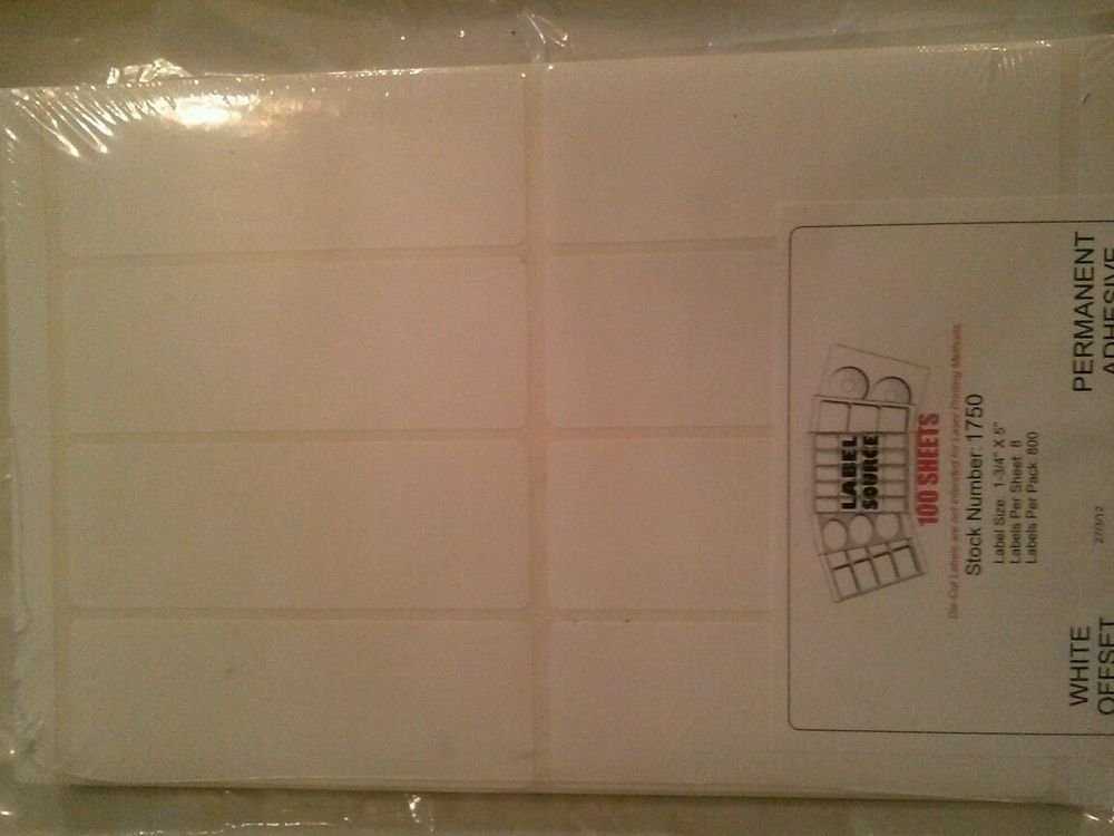 """Offset Printing Labels #1750-1 3/4 x 5"""" Pack of 800 new"""