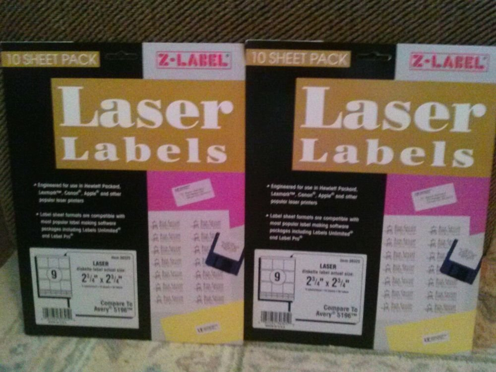"""Laser Labels Diskette 2 3/4""""x 2 3/4"""" 180 Labels Compare to Avery 5196"""
