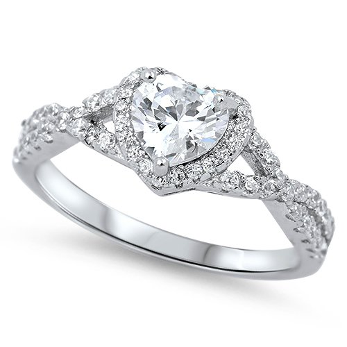 STERLING SILVER HEART INFINITY RING CZ Infinity Promise Ring Size 5,6,7,8,9,10 S