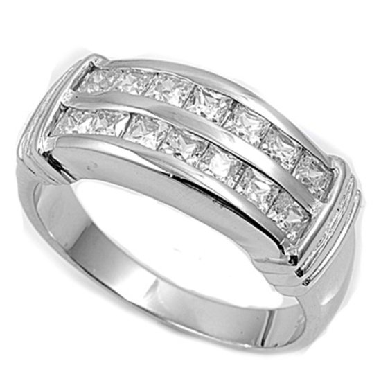 Silver Channel Set Princess Cut Cubic Zirconia Wedding Band Ring Solid Sterling