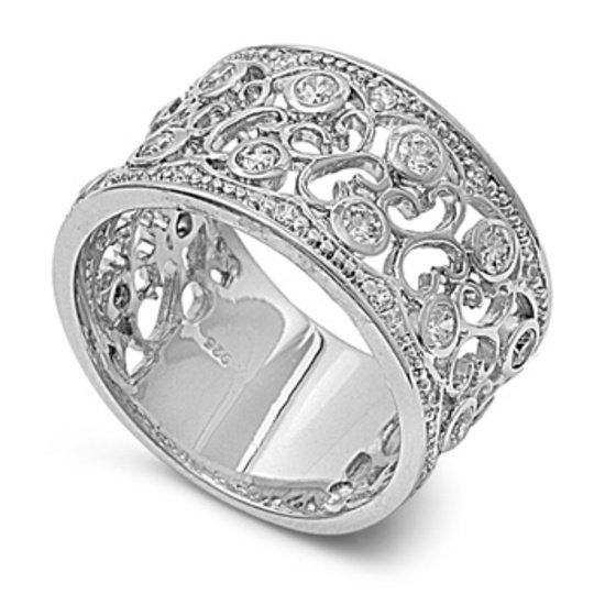 Silver Brilliant Filigree Band Cubic Zirconia Vintage Inspired Ring Solid Sterli