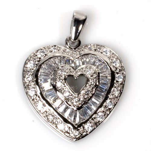 Vintage Inspired Pave Cubic Zirconia Heart Pendant Sterling Silver Antique Style