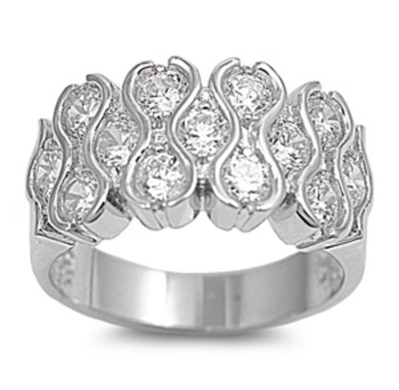 Silver Bezel Set Brilliant Cut Cubic Zirconia Fashion Band Ring Solid Sterling C