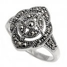 Antique Vintage Art Deco Cubic Zirconia Silver Marcasite Ring Sterling Silver MA