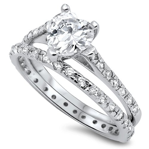 Sterling Silver 2.5CT Pave Heart Shape Cubic Zirconia Wedding Ring Set Bridal