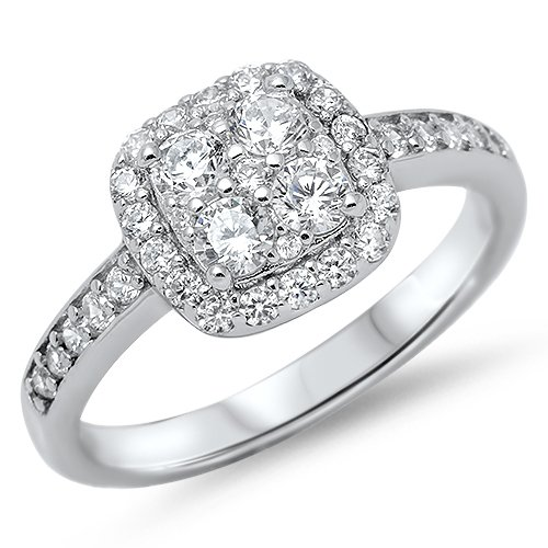 ROUND CLUSTER CZ HALO ENGAGEMENT RING Solid Sterling Silver Sterling Silver