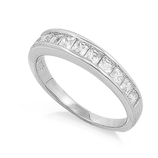 4mm Silver Princess Cut Channel Set CZ Wedding Band Ring Sterling Silver 2 mm We