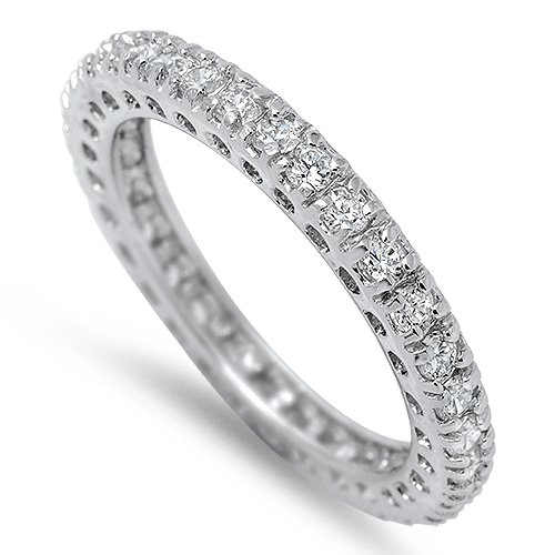 3MM STACKABLE CZ ETERNITY WEDDING BAND Rhodium Sterling Silver Ring Sterling Sil