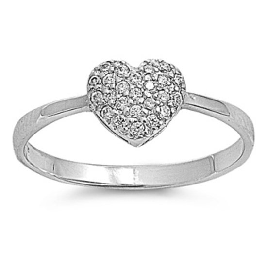 Silver Pave Heart Shape Cubic Zirconia Fashion Ring Solid Sterling CLEAR