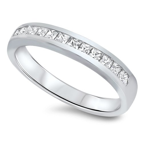 4mm PRINCESS CUT CHANNEL CZ WEDDING BAND RING Sterling Silver Sterling Silver  W