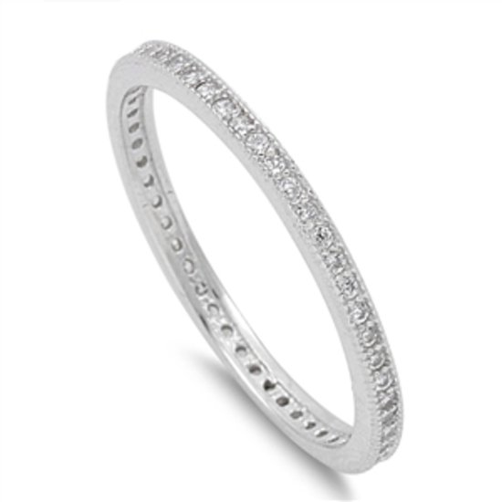 2MM STACKABLE CZ ETERNITY BEADED BAND Rhodium Solid Sterling Silver Ring Sterlin