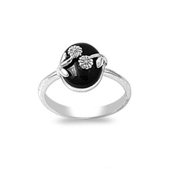 925 Solid Sterling Silver Ring W/ Stone Genuine BLACK ONYX