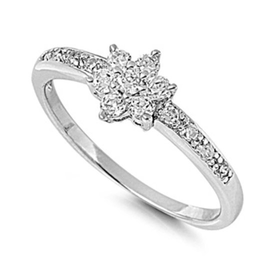 Silver Flower Design Brilliant Pave Band CZ Fashion Ring Solid Sterling CLEAR