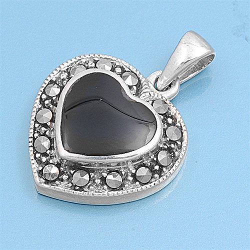 Heart Shape Black Onyx CZ Antique Pendant Solid Sterling Silver BLACK ONYX