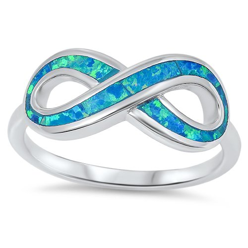 NEW! BLUE OPAL INLAY INFINITY KNOT RING Sterling Silver Infinity Band Size 5-10