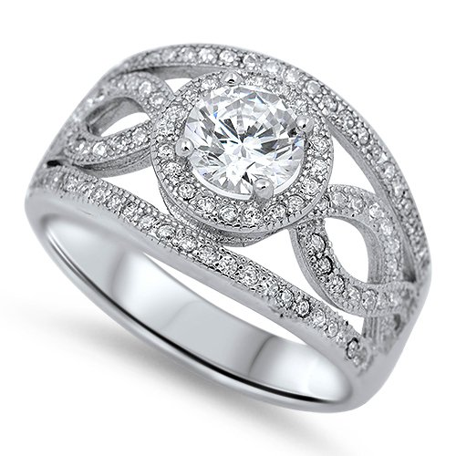 WIDE BAND VINTAGE STYLE CZ ENGAGEMENT RING Sterling Silver Bridal Ring Sterling