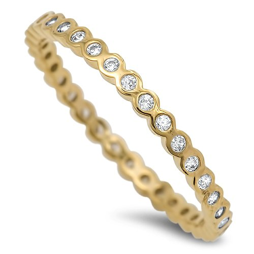 2MM BEZEL YELLOW GOLD STACKABLE ETERNITY BAND Sterling Silver Eternity Ring Ster