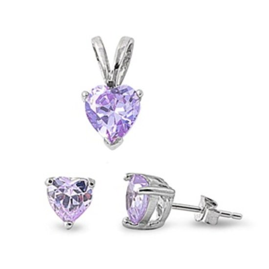 .925 Sterling Silver Sets - Alexandrite CZ Heart Solitaire Jewelry Set Pendant &