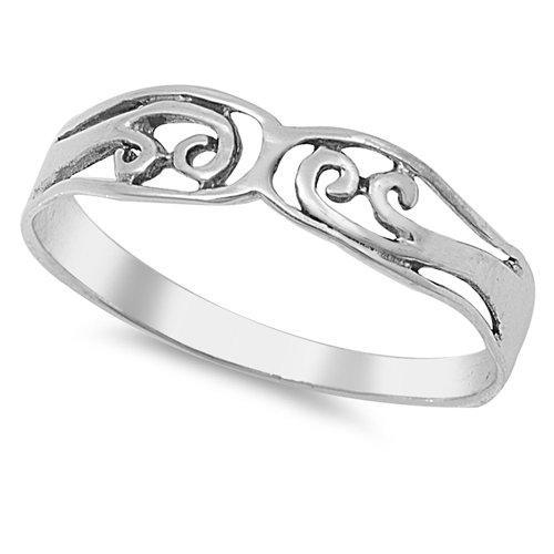 4MM PLAIN STERLING SILVER CROSS RING Solid 925 Silver Band Size 4-9 925 Solid St