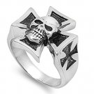 Mens Biker Jewelry Stainless Steel Ring - Skull  w/ Cross