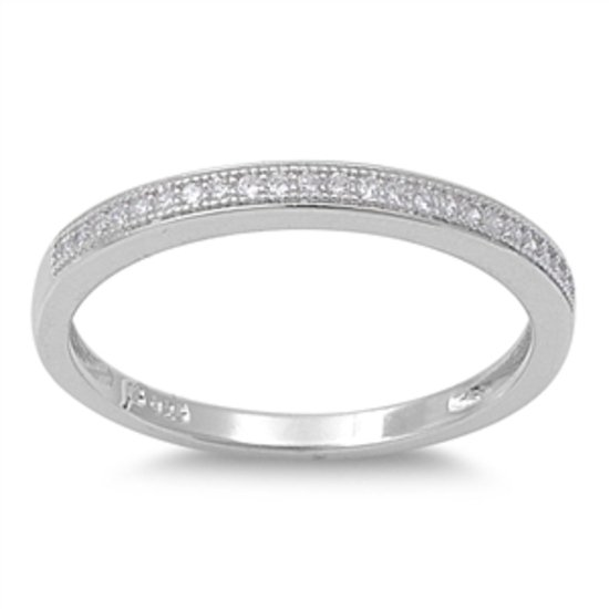 Silver 2mm Pave CZ Solid 925 Sterling Silver Bridal Wedding Band Ring Solid Ster