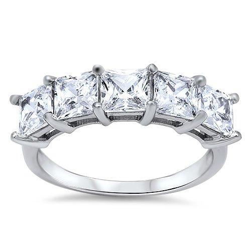 FIVE STONE PRINCESS CUT CZ WEDDING BAND Sterling Silver Bridal Ring Size 4-10 St
