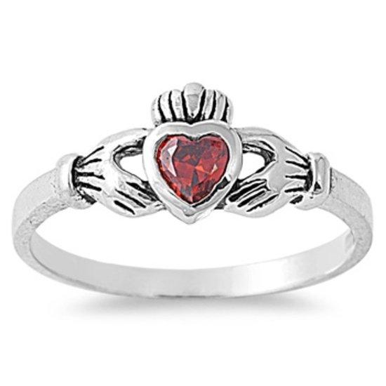 1CT Garnet Cubic Zirconia Claddagh Engagement Ring 7 mm (0.30 inch) Irish Promis