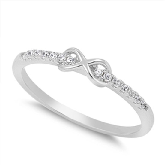 NEW! PETITE INFINITY LOVE KNOT CZ BAND Sterling Silver Promise Ring Promise Ster