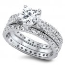 1CT Pave Heart Shape CZ Three Piece Wedding Ring Set Bridal Sterling Silver