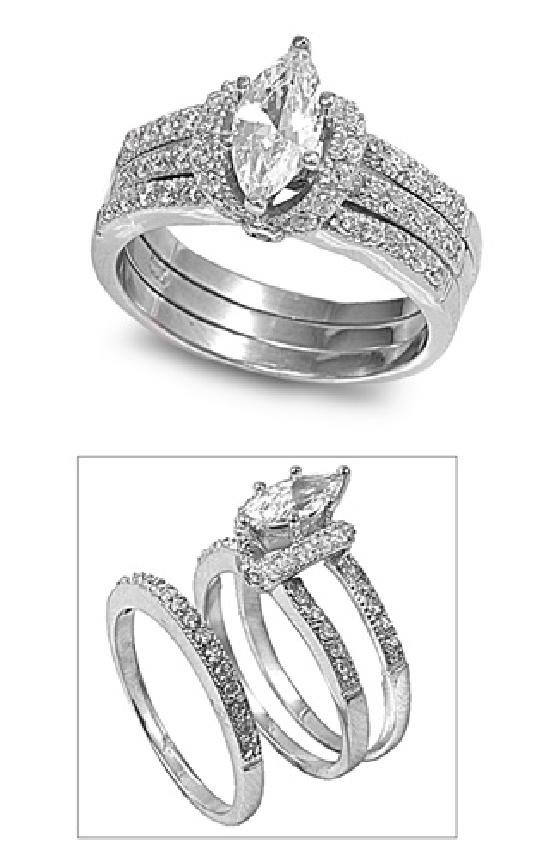 1CT Marquise Cut Pave Sides CZ Wedding Ring Set  Sterling Silver